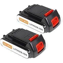 LENOGE 2-Pack 18V 2,0Ah Li-ION Batterie de Remplacement pour Black & Decker LBXR20 LBXR2020-OPE LB20 LBX20 BL2018-XJ GKC1825L GTC1850L20