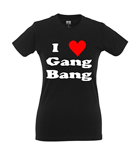 Girlie-Shirt - I love Gang-Bang Schwarz