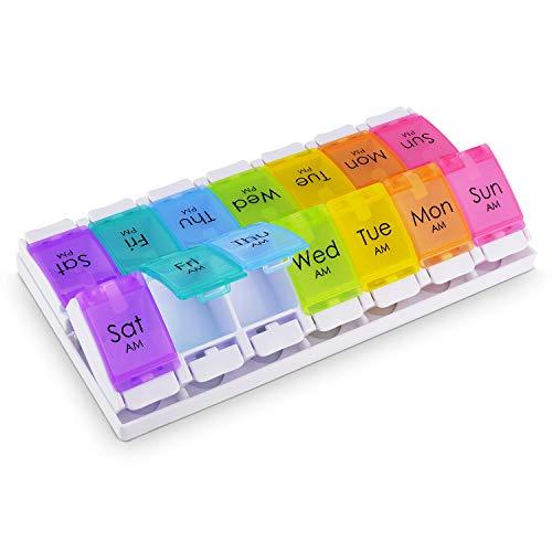 Anpole Pillendose 7 Tage AM PM Pillbox 14 Groß Fächer Pillenhalter Organizer Wöchentliche Tablettenbox Tragbar Medikamentendosierer für Vitamine, Fischöle, Medizin