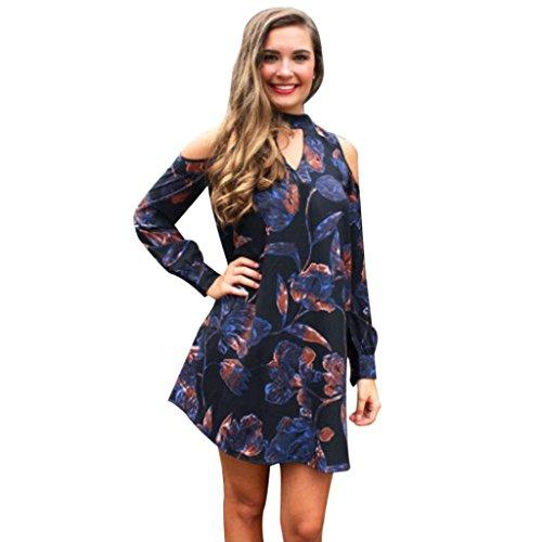 Printkleider Damen, DoraMe Frauen Locker A-line Mini Kleid Lange ärmel Gedruckten Lose Größe Kleid (M, Dunkelblau)