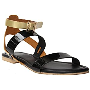 Black Sandals |Women Slippers | Girls Sandals | Flats | Slippers |Sandal | Gold | Black| flats | slipper for women