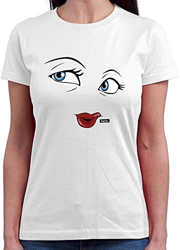 HARIZ  Damen T-Shirt Rundhals Milch Und Schokolade Mädchen Partner Kostüm Karneval Kostüm Plus Geschenkkarten Weiß ()