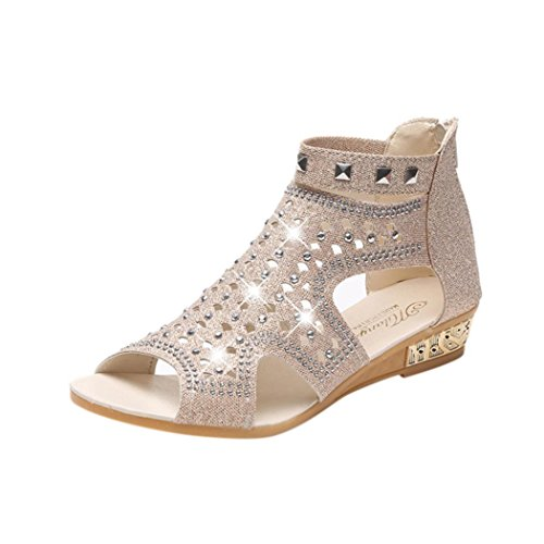 FEITONG Damen Sandalen Flach Schuhe mit Strass Flip Flops Römer Damen Sommer Sandalen Zehentrenner (EU:39=CN:40, Beige-A) (Team-flip-flop-sandalen)
