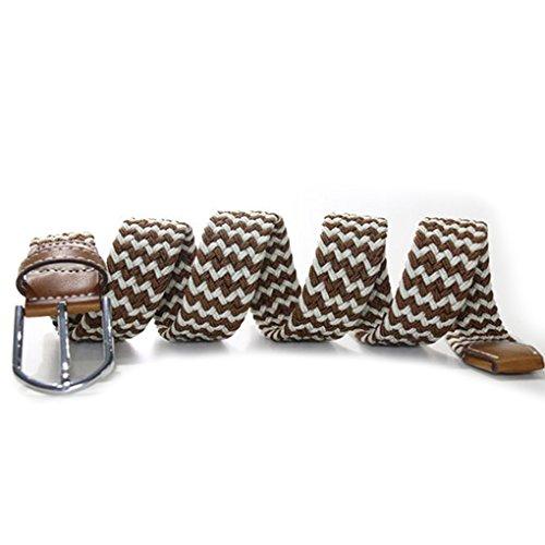 QHGstore W Forme extensible en caoutchouc élastique Ceinture boucle ardillon Woven ceinture pour Hommes / Femmes B02 B01