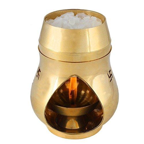 Street Craft Brass Aroma Incense Burner Camphor Lamp Aroma Lamp Oil Burner Oil Diffuser With Diya Pack Of 1