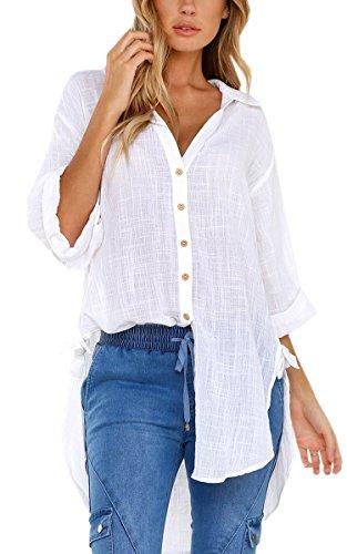 ECOWISH Damen Bluse Casual Langarm V-Ausschnitt Oberteile Lose Langes Hemd Button Down Kragen Shirt Tops Weiß S