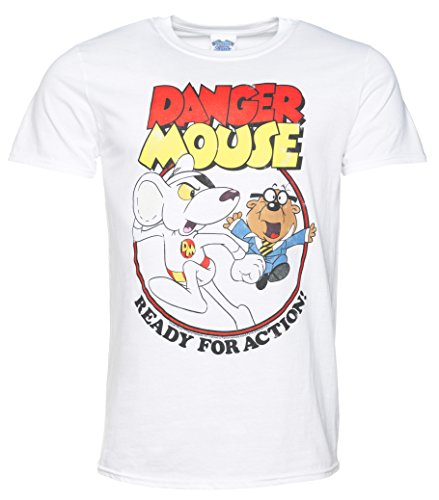 TruffleShuffle Mens Danger Mouse Ready For Action White T Shirt (Danger T-shirt Mouse)