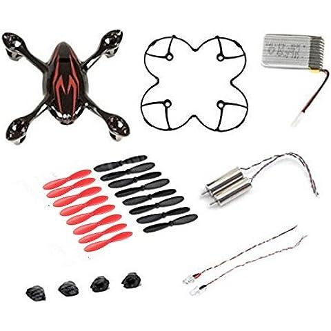 AFUNTA para HUBSAN X4 H107C Quadcopter Rojo / Repuestos Negro Crash Pack (Un cuerpo de la cubierta + los pies de protección cubierta + 4 + 4 x goma Piezas de discos colocados + Uno 380mA batería de repuesto + 2 + 2 Motors llevó la