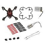 AFUNTA para HUBSAN X4 H107C Quadcopter Rojo / Repuestos Negro Crash Pack (Un cuerpo de la cubierta + los pies de protección cubierta + 4 + 4 x goma Piezas de discos colocados + Uno 380mA batería de repuesto + 2 + 2 Motors llevó la luz)