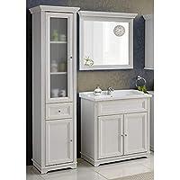 Lomadox Vintage Badezimmer Möbel Set ○ Andersen Pine Weiß Im Landhausstil ○  80 Cm Waschtischunterschrank Inkl