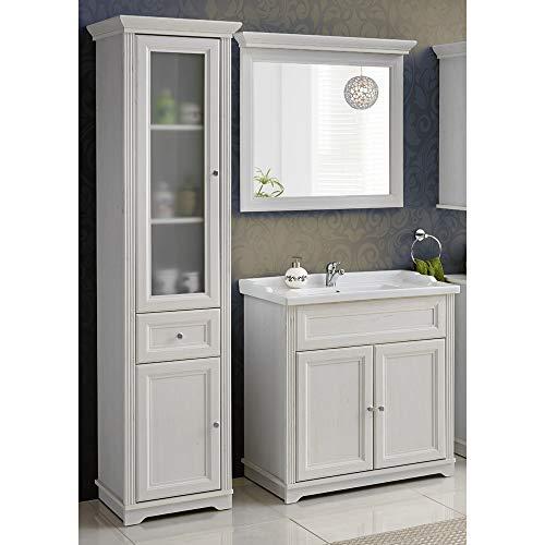 Lomadox Landhaus Badmöbel Set ● Andersen Pine weiß im Landhausstil ● 80 cm Waschtischunterschrank inkl. Keramik Waschbecken ● Hochschrank mit 2 Türen und Schubkasten und Spiegel -