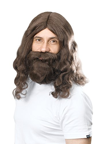 NEW DELUXE BROWN JESUS HIPPY WIG & BEARD SET (peluca)