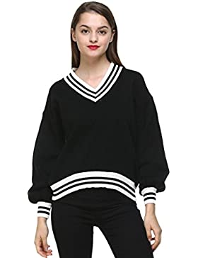 Vogueearth Fashion Hot Mujer's Ladies Student Largo Manga V-Neck Knit Jumper Jersey Sudaderas Suéter Pull-over...