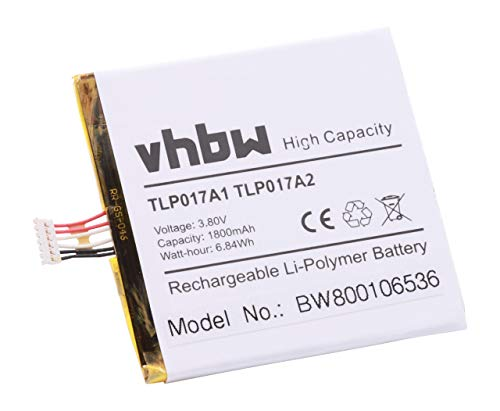 vhbw Li-Polymer Akku 1700mAh (3.8V) für Handy Smartphone Alcatel One Touch Idol Alpha, Mini, Mini Dual, OT-6012A, OT-6032X wie TLP017A1, TLP017A2. (Handy Mini One Touch Alcatel Idol)