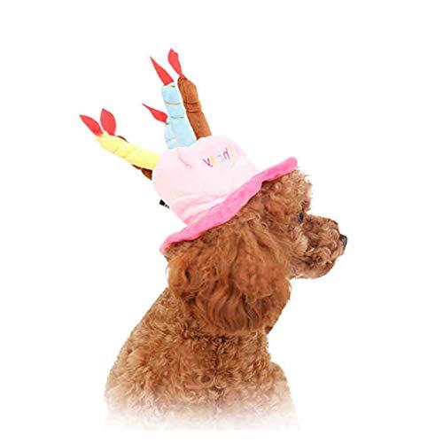 Per Soft Warm Pet Geburtstag Hut Pet Headwear mit einem Kuchen und Kerzen Design für Hund in Geburtstagsparty zu genießen eine glückliche Zeit (One Size Fits Most) (Farbe : Pink)