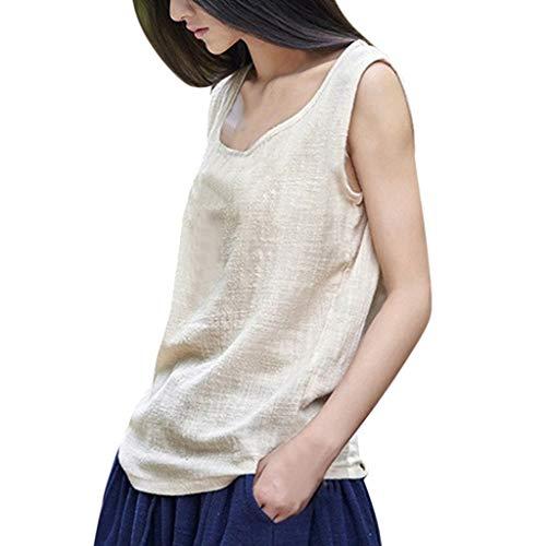 TEBAISE Damen Sommer Neue äRmellos Weste Baumwolle Leinen Tunika T-Shirt Oberseiten Frauen Casual Beiläufige lose Crop Tops Bluse Geschenk zum Muttertags Dünnschnitt Tank Geschenk für Mama -