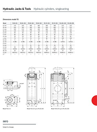 Yale AMZ1023452universale cilindro, ictus, YS70/150, 70.0T, 150mm