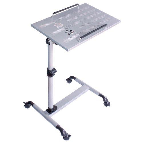 SoBuy® mesa auxiliar con ruedas, mesas de centro, mesas para portatiles, mesitas de noche, FBT07N-SIL(plata/L52*P33*A61.5-85cm),ES