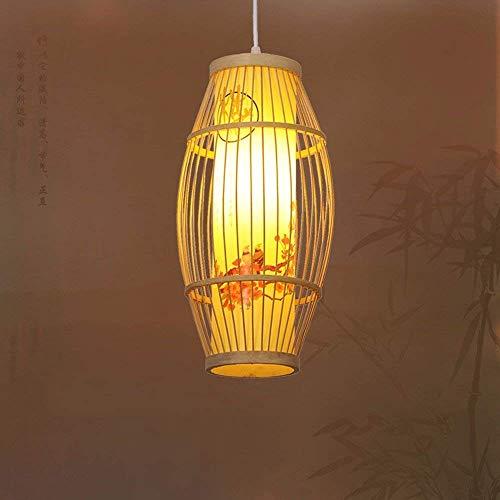 DGHDFH * Pendelleuchte Kronleuchter Vintage Shabby Green Bamboo Art ist EIN modernes Restaurant Schlafzimmer Birdcage japanischen Lampen, Zylinderlaterne 20Cm 9W Led ●