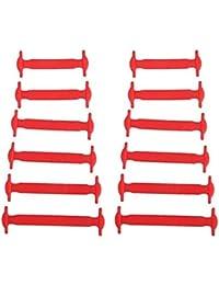 Linyena 12 pièces en silicone pour enfants sans élastique sans cravate Accessoires (rouge)