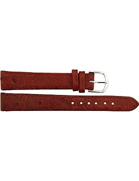 Armbanduhr lederarmband in Rot Polyurethan - 14mm - - Schnalle in Silber Edelstahl - B14RedItr68S