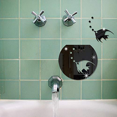 Wandaufkleber Dekorative Aquarium kleine Fische Spiegel Acryl Spiegel Wandaufkleber Bad Bad Wanddekoration Spiegel kreative Aufkleber, schwarz -