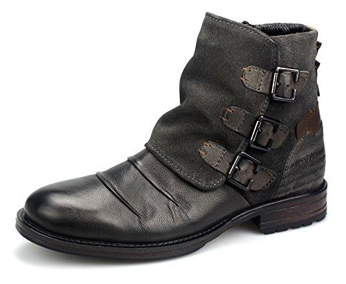 Lanqier Herren Leder Boots Herrenstiefel Stiefeletten 39A800 Grau