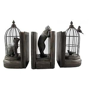 serre livres en forme de chats et les oiseaux en cage biblioth que oiseau polyr sine 3 pi ces. Black Bedroom Furniture Sets. Home Design Ideas