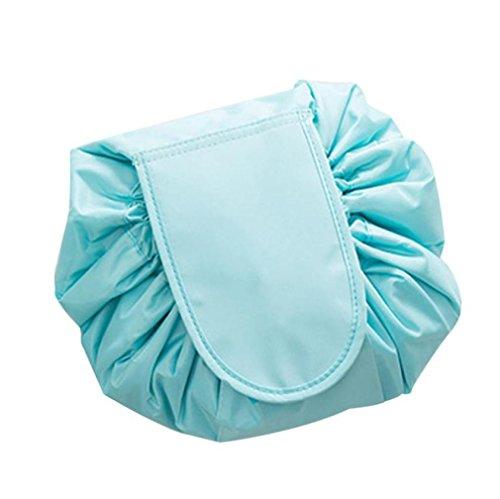 Tefamore Portable Kordelzug Travel Organizer Tasche Make-up Beauty Schmuck Kosmetische Aufbewahrung (Blau) (Aktentasche Öffnen Gepäck Kleine)