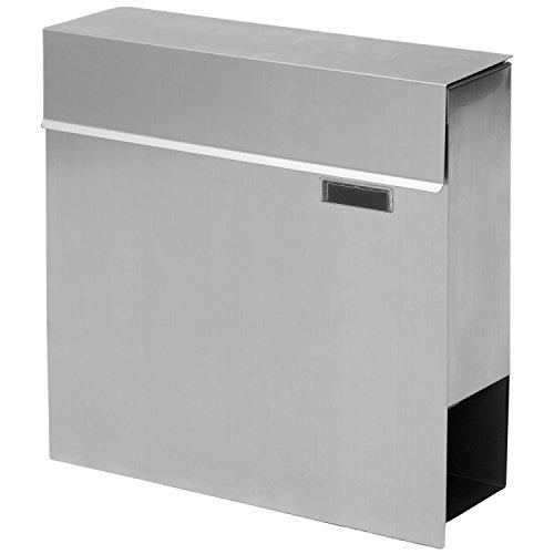 STILISTA Hochwertiger V2A Edelstahl Wandbriefkasten mit Zeitungsfach, verschiedene Designs, Schwere Qualität (3-4 kg) - 40100040