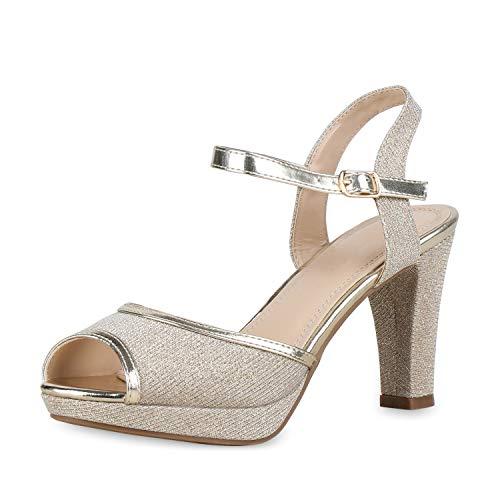 SCARPE VITA Damen Pumps Riemchensandaletten High Heel Sandaletten Glitzer Party Schuhe Absatzschuhe Elegante Abendschuhe 175877 Gold Glitzer 38