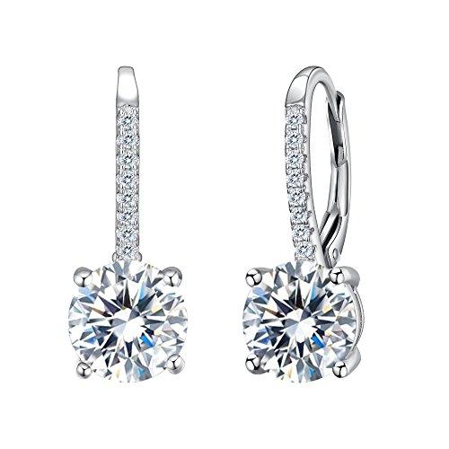 Orecchini argento 925,tenye zirconia cubica elegante e simplice splendidi orecchini a cerchio