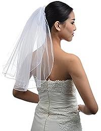 Topwedding 2 niveaux Blanc Brusher Longueur mariage strass détaillée Voile avec peigne