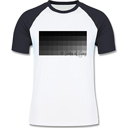 Statement Shirts - 50 Shades of Grey 50 Grauabstufungen - zweifarbiges Baseballshirt für Männer Weiß/Navy Blau
