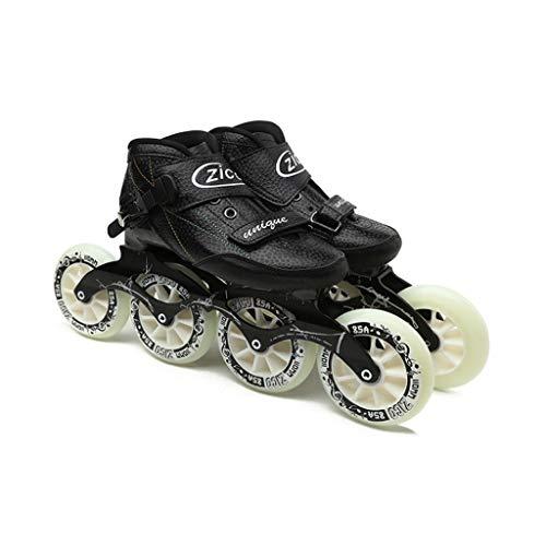 Tiua Inline Skates Professionelle Eisschnelllauf Schuhe, Erwachsene Männer und Frauen im Freien Kinder-Rollschuhe Renn Skates lässig Inline Skates schwarz (Color : Black, Size : EU 38)