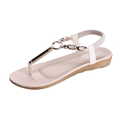 Women Sandals,Women Flat Shoes Bead Bohemia Leisure Lady Sandals Peep-Toe Flip Flops Shoes (38, Beige) Test