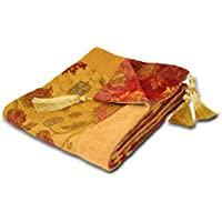 """Riva Paoletti ZURICH/TH2/GLD Zurich Throw - Gold Yellow - Decorative Floral Jacquard Design - Tasselled - Heavyweight - 100% Polyester - 150 x 180cm (59"""" x 71"""" inches) - Designed in the UK"""