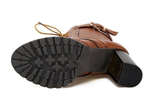 YE Damen Spitze Blockabsatz Plateau High Heel Stiefeletten mit Schnürung und Schnallen Elegant Retro Herbst Winter Short Ankle Boots Braun