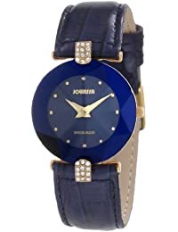 Jowissa Facet Strass J5.011.M - Reloj analógico de cuarzo para mujer, correa de cuero color azul