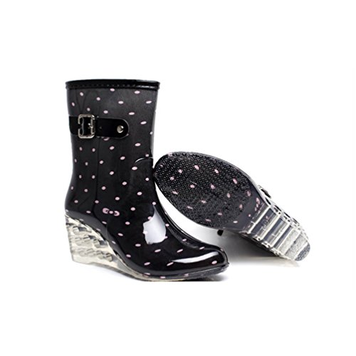 LvRao Frauen Absatzschuhe Stiefel mit Reißverschluss Wasserdichte Gartenschuhe | Damen Punkt-Muster Regen Boots Wellies Gummistiefeln Schwarz Rosa