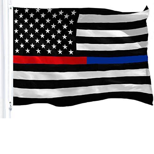 G128Dünn Blau Line Dünn Rot Line Flagge 150D Polyester Bedruckt Uns Flagge 3x 5ft Tüllen Messing Schwarz Weiß und Rot US Flagge