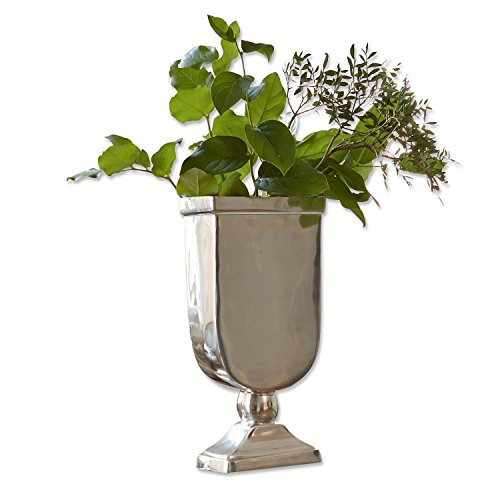 Loberon Vase San José, vernickelter Aluminiumguss, H/B/T ca. 37/19 / 10 cm, Silber