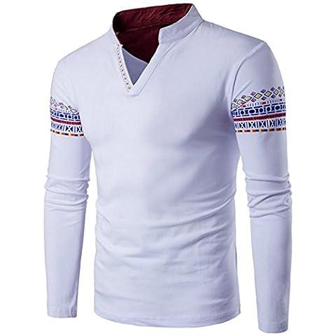 MäNner V-Ausschnitt Slim Fit Pulloverhemd CLOOM Herren große Größe Sweatshirt Baggy Rollkragenpullover Tops T-Shirt Outwear Business Pullover Klassischer Hemd Mit Stehkragen Collegejacke (5XL, Weiß)