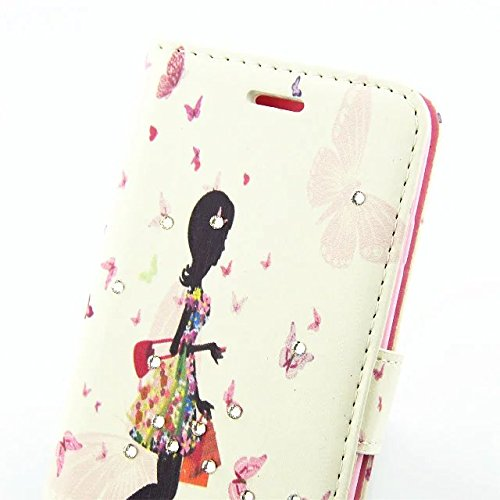 """inShang iPhone 7 Coque 4.7"""" Housse de Protection Etui pour Apple iPhone7 4.7 Inch,Coque Avec support fonction, Pochette super- utile, Wallet design with card slot Butterfly walking girl"""