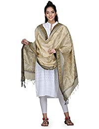 The Weave Traveller Handloom Hand Block Printed With Hand Woven Border Khadi Cotton Dupatta For Women's/Girl's