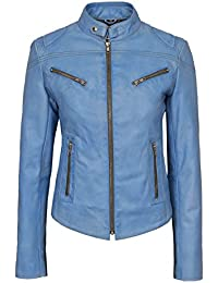 235ab2fb8fdb1f Ladies Speed Blue Crust Cool Retro Biker Style Fitted Motorcycle Leather  Jacket Real Genuine Lambskin SR