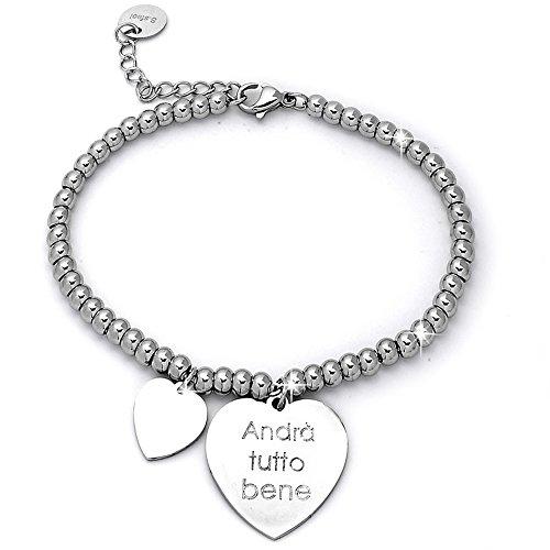 Beloved ❤️ braccialetto da donna, bracciale in acciaio emozionale - frasi, pensieri, parole con charms - ciondolo pendente - misura regolabile - incisione - argento (mod 13)