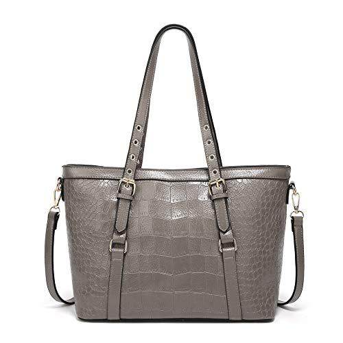 Ateasy HB0000144 Krokodil-Muster neue Stil markentaschenfürdamen tasche schwarz groß strandtasche mit reißverschluss tote bag einkaufstasche für einkaufswagen reisetasche (grau) - Neue Schwarze Damen-tote