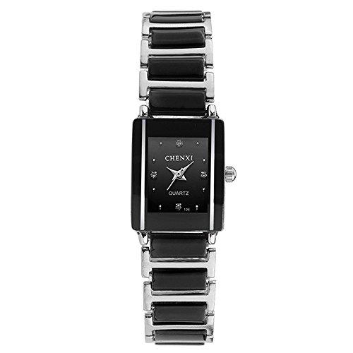 Mode Rechteck Luxus Keramik Uhrenarmband Quarz Damen Armbanduhren, Schwarz