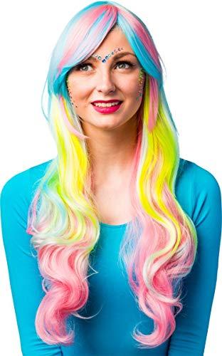 Karneval Kostüm Damen Candy - Damen Langhaar Perücke Regenbogen - Ideal